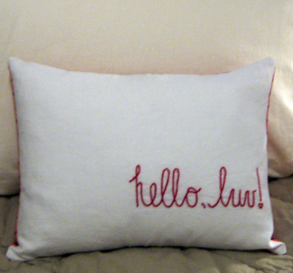 Jenni20 Designs Hello Luv Hand Embroidered Boudoir Pillow Cover