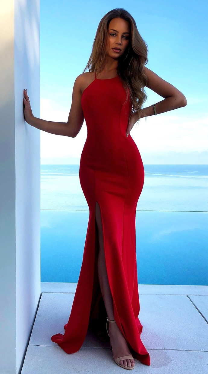 9181aeffbe Gorgeous Red Satin High Neck Mermaid Prom Dress with Lace up Low Cut ...