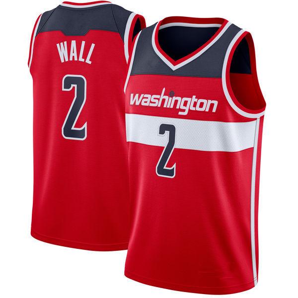 Men s Washington Wizards 2 John Wall Red 2018 19 Basketball Jersey ... 1620971f0