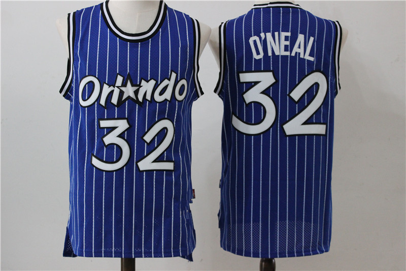 Men s Orlando Magic 32 Shaquille O Neal Retro Blue Hardwood Classics Jersey a20edfe8d
