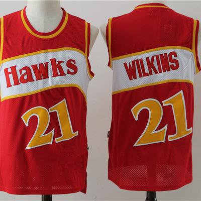 b33e3b7a3 Throwback men s atlanta hawks  21 dominique wilkins red retro basketball  jersey - Thumbnail 2
