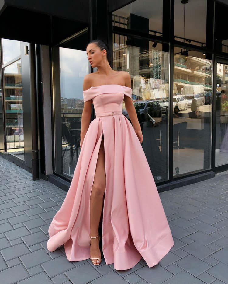 f717067079 Pink Off Shoulder Satin Long Prom Dresses With High Slit, Pink Formal  Dresses, Evening ...