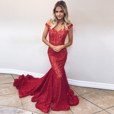 ec544f00e0 2019 gorgeous off shoulder red prom dress red mermaid formal evening gown  with sweep train