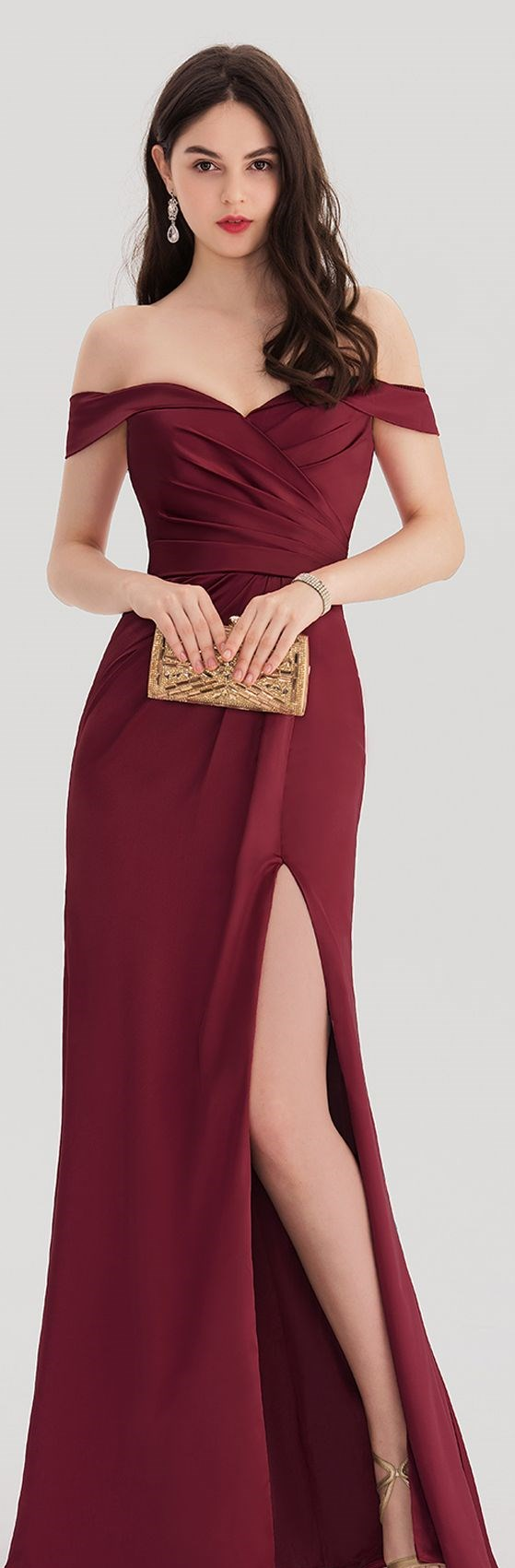 8b561953e510 Sheath/Column Off-the-Shoulder Floor-Length Satin Prom Dresses With Ruffle