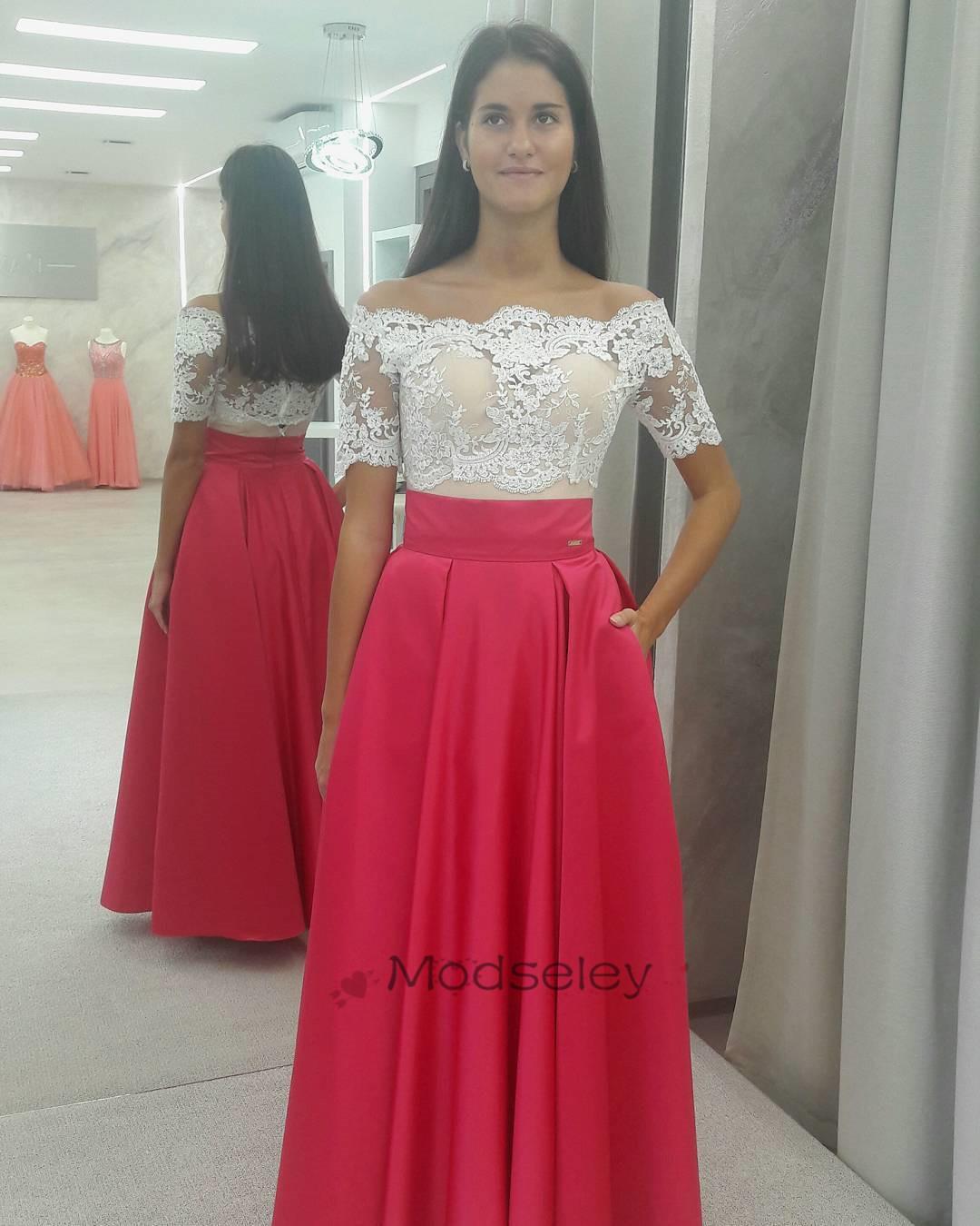 48e57dcab690 Elegant Off Shoulder Red Long Prom Dress White Lace Top ...