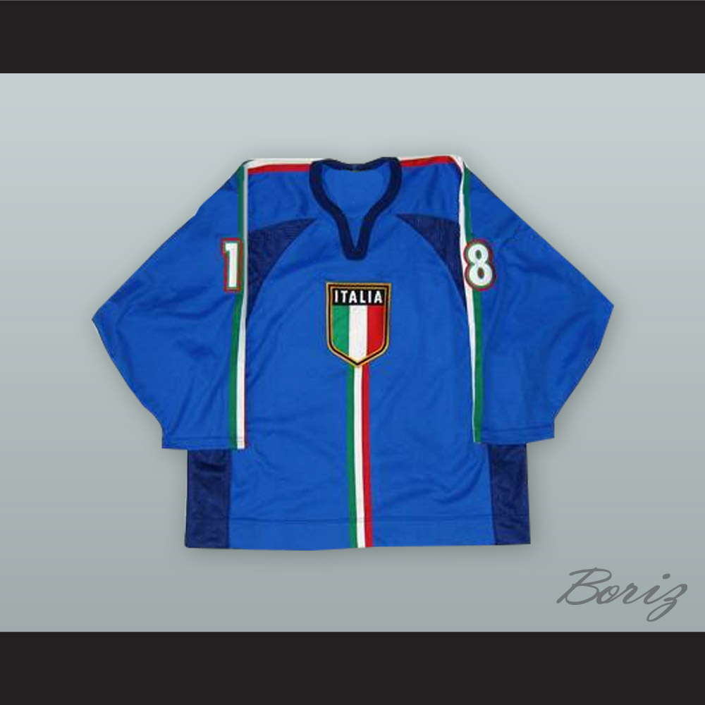 the latest 5a9a2 f8055 Manuel de Toni 18 Italy National Team Blue Hockey Jersey from acbestseller