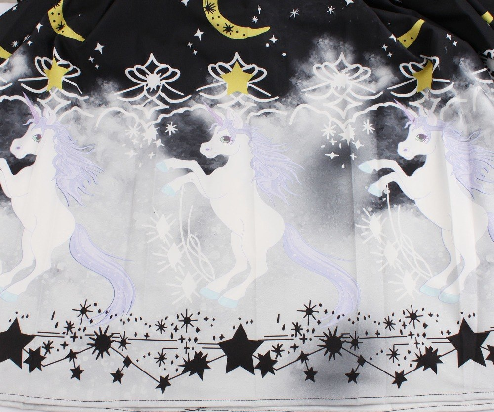 6ec5e75bd80 ... XS S M L black white star moon unicorn print ruffle sleeve gothic  lolita dress nu goth kawaii ...