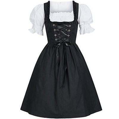 9bc700474cb Xxs xs s m l xl black white gothic lolita maid puff sleeve corset swing dress  kawaii cosplay