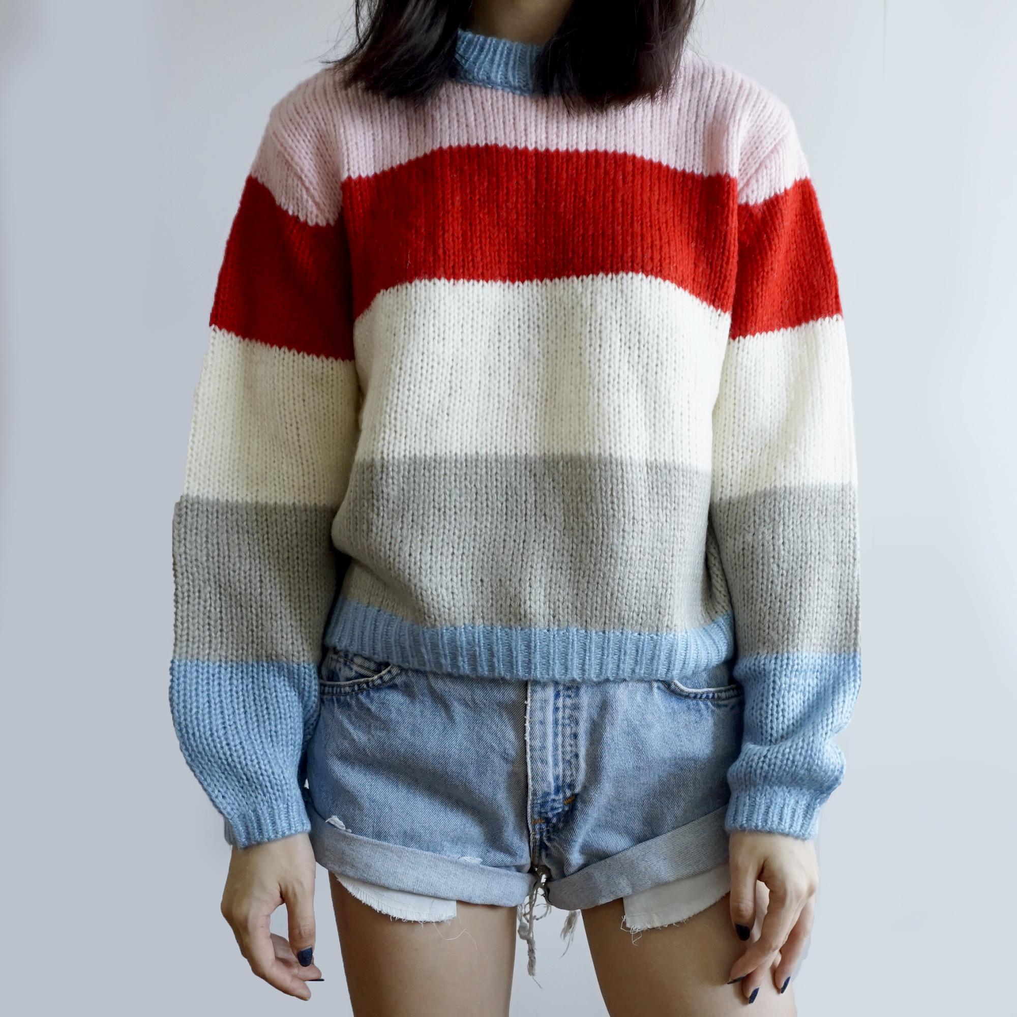 0fb7831a996 Colorblock Stripe Sweater (Pink/Blue) · Megoosta Fashion · Free ...