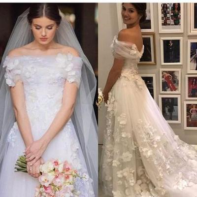 b6cbd04daed Custom made tulle a line wedding dresses with 3d-floral appliques bateau  neck bridal dresses
