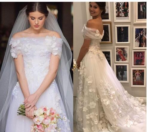 d3d867fdb Custom Made Tulle A Line Wedding Dresses with 3D-Floral Appliques Bateau  Neck Bridal Dresses