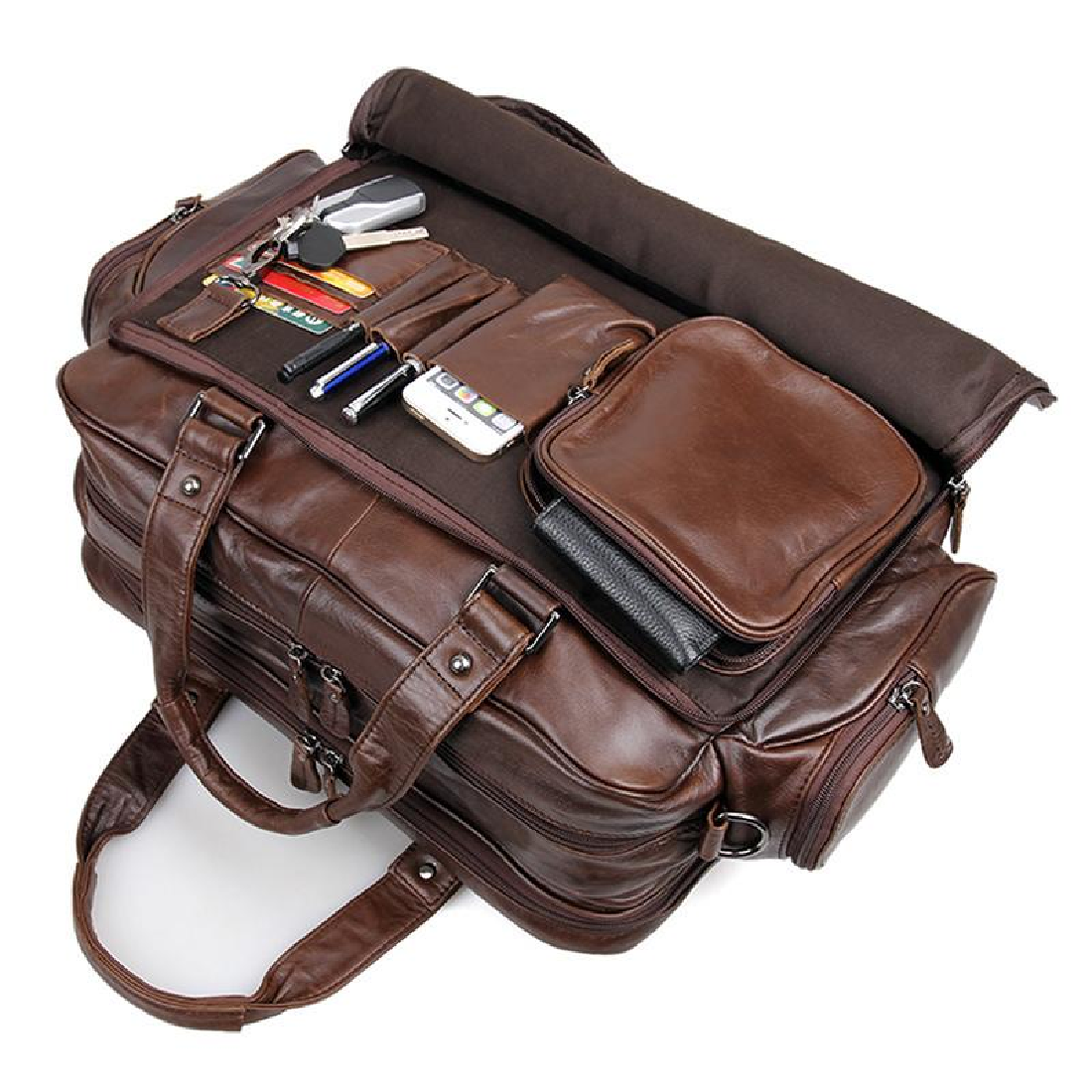 13141310ee19 Real Leather Briefcase Laptop Messenger bag with free gift Men Double  zipper crazy horse leather long wallet 24 card holder clutch purse on  Storenvy