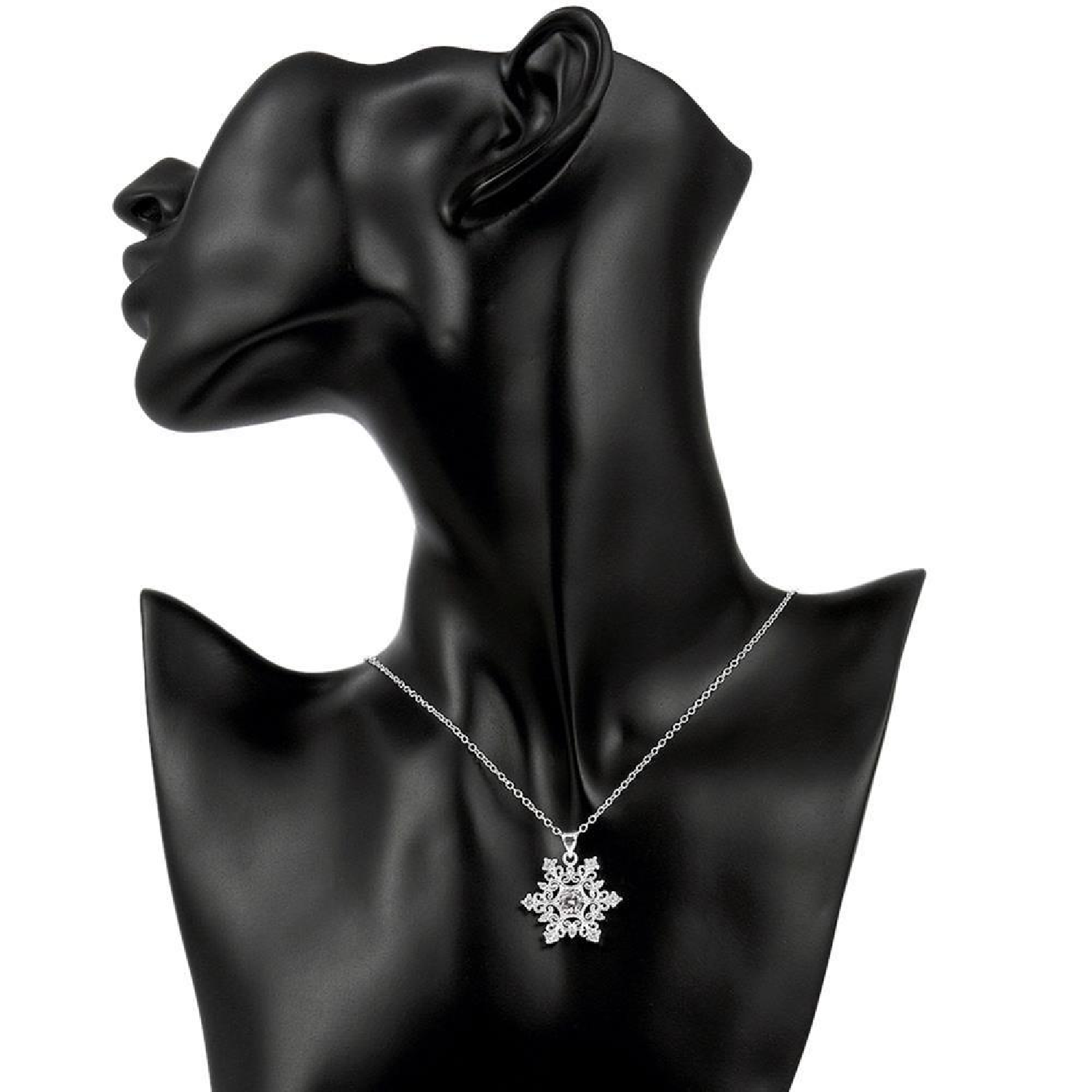 ab8af1341137b Swarovski Crystal Snowflake Necklace in 18K White Gold Plated from Hokemart