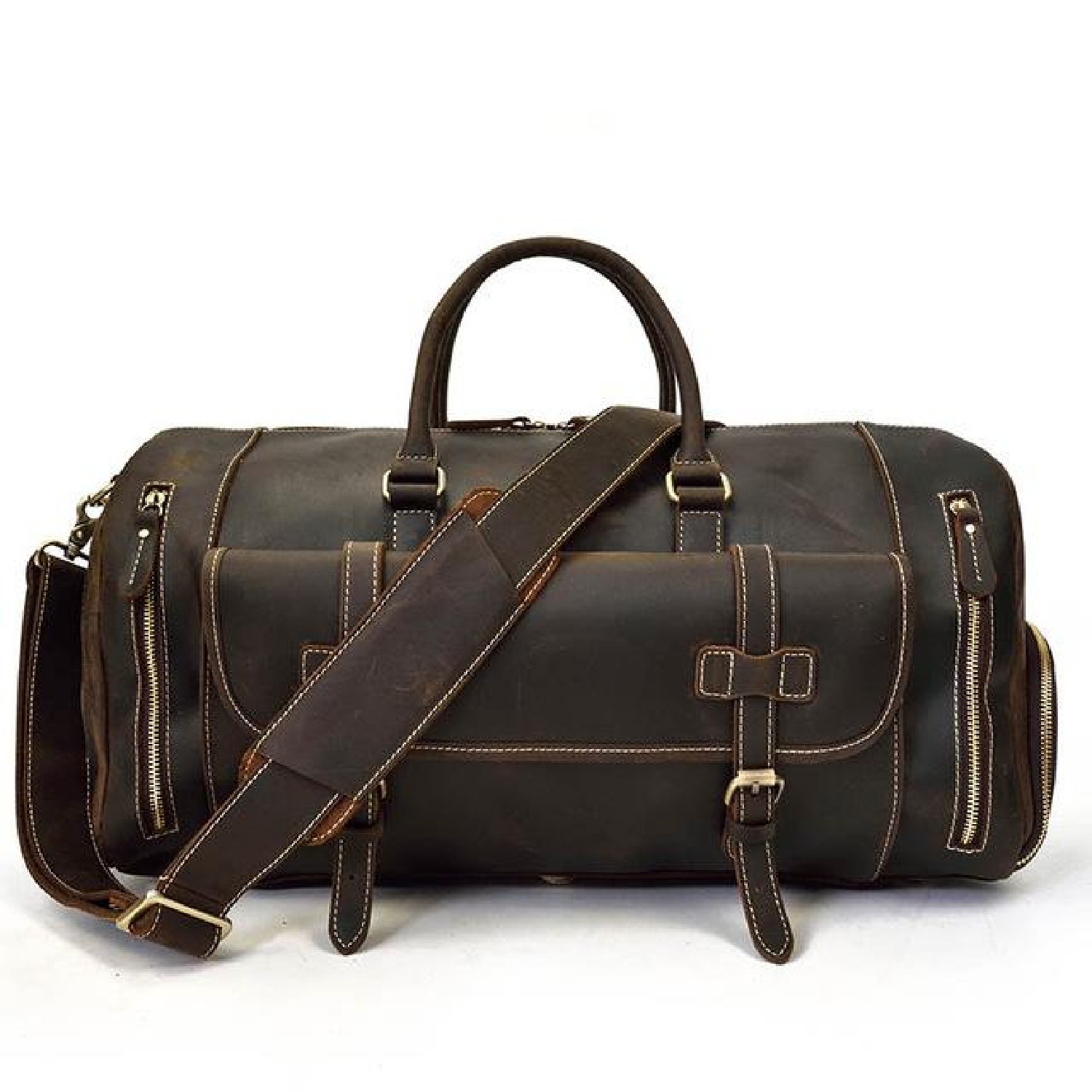 c96e80215420 Men Thick Leather Travel Bag With Shoe Pocket 20