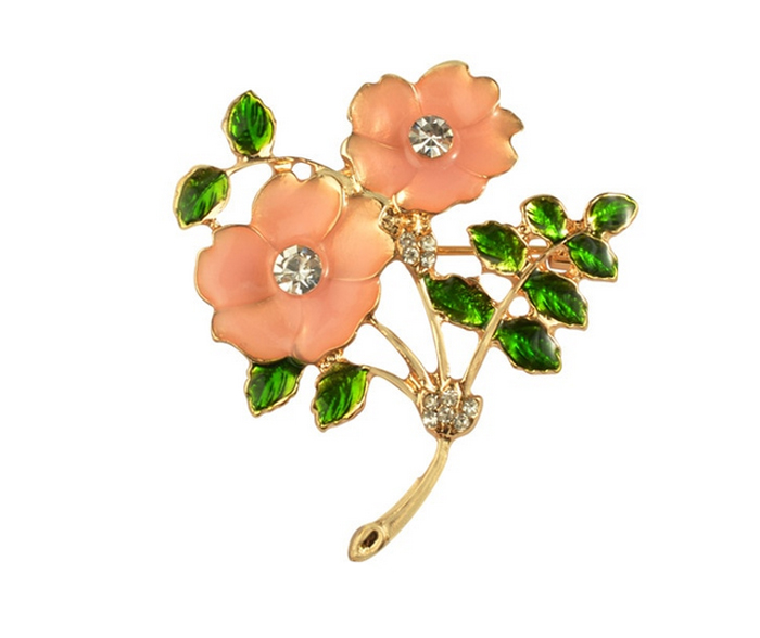 804b43dabdcc3 Orange Flower Green Enamel Leaves Rhinestones Brooches Pins Jewelry 81 from  In Cami