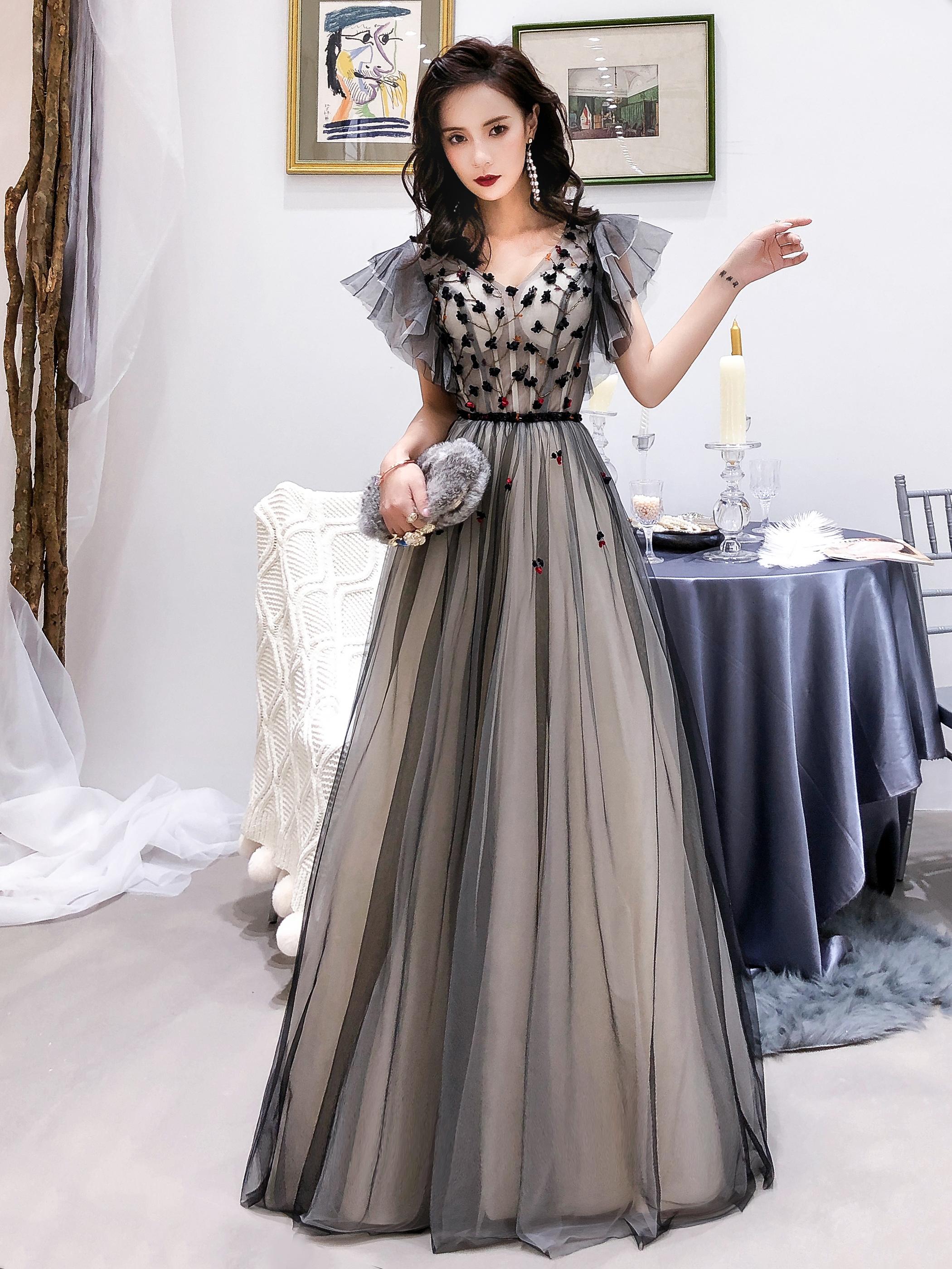 6c1827e2883 Cute black tulle long prom dress