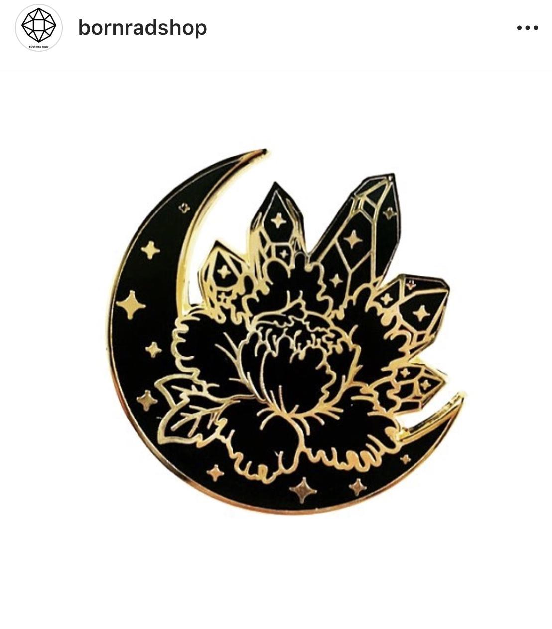 Black and Gold Moon Crystal Peony Lapel Pin Flower Hard Enamel from Born  Rad Shop