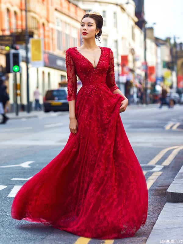 b33a7cf3ce9c Evening Dress A-Line, Red Evening Dress, 2019 Prom Dresses, Prom Dresses  Long, Modest Prom Dresses on Storenvy