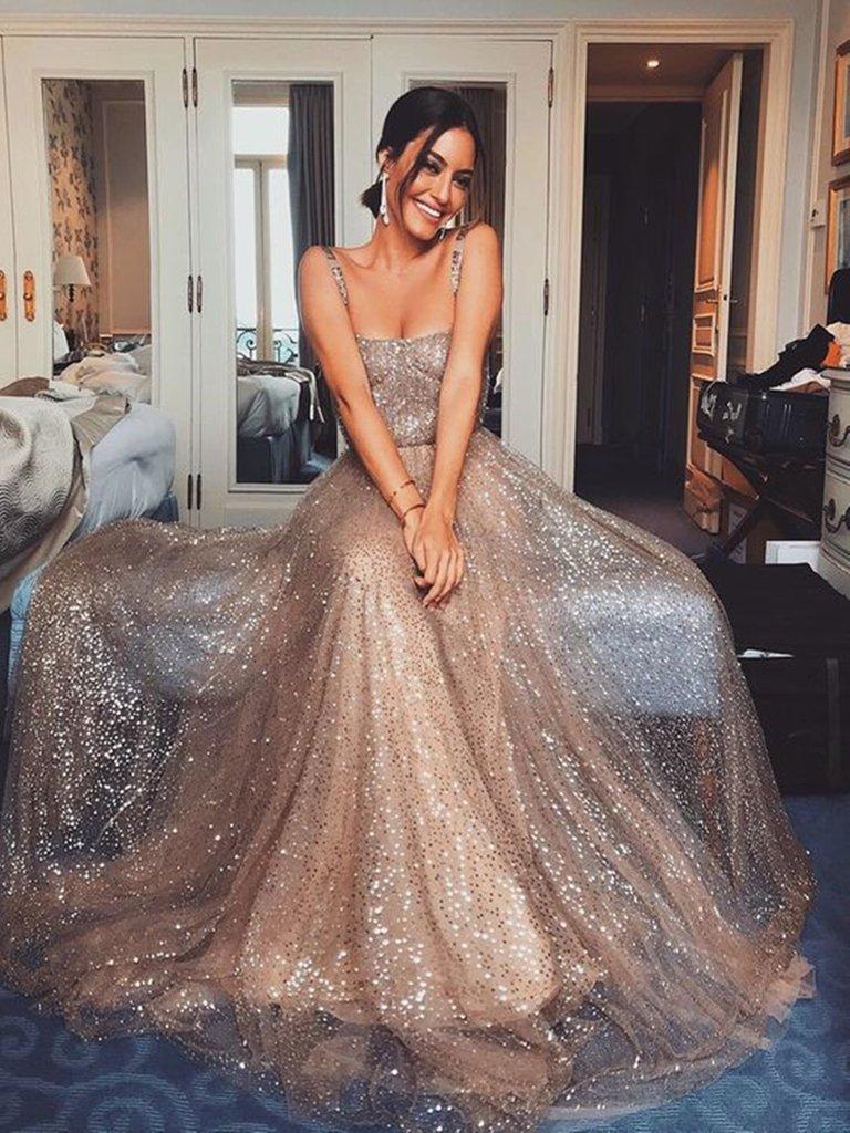 40955947d5a4 Custom Made A Line Shiny Prom Dress with Sequins, Shiny Formal Graduation  Dresses