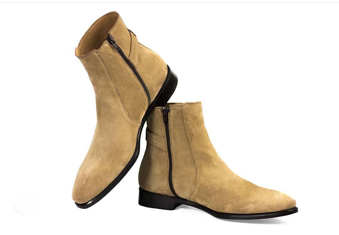 Handmade Beige Color Boot, Men's