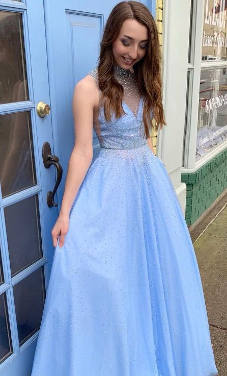 0d7026b93e4 High Neck Blue Long Prom Dress with Pearls