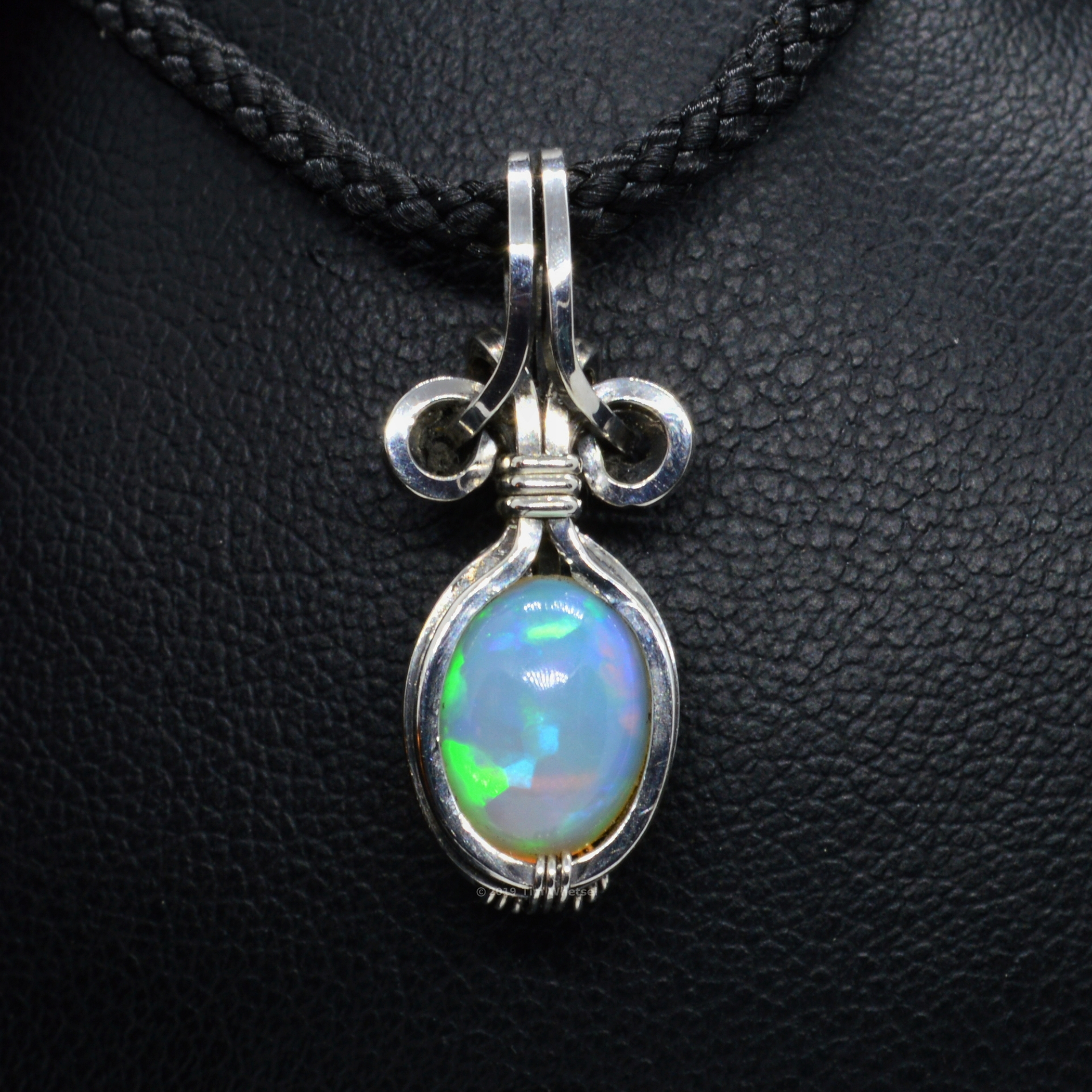 Genuine Sterling Silver Opal Necklace - Small Wire Wrapped Ethiopian Welo Opal Charm for Women -