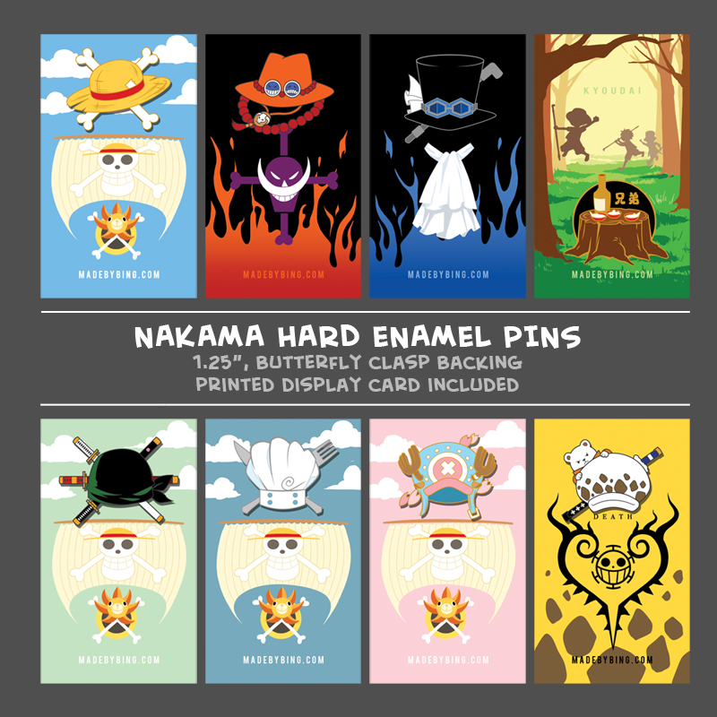 Nakama Enamel Pins sold by made by BING