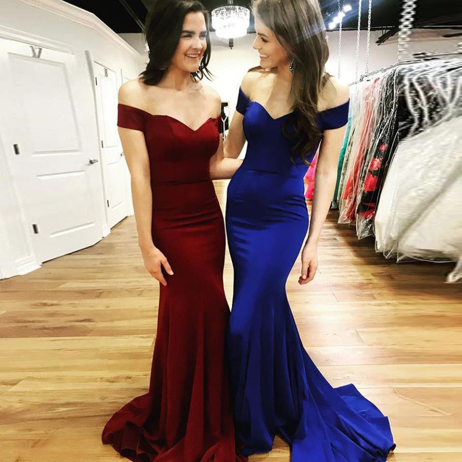 069740e0fc49 2019 Elegant Prom Dress Off The Shoulder Mermaid Formal Evening Gown Sweep  Train
