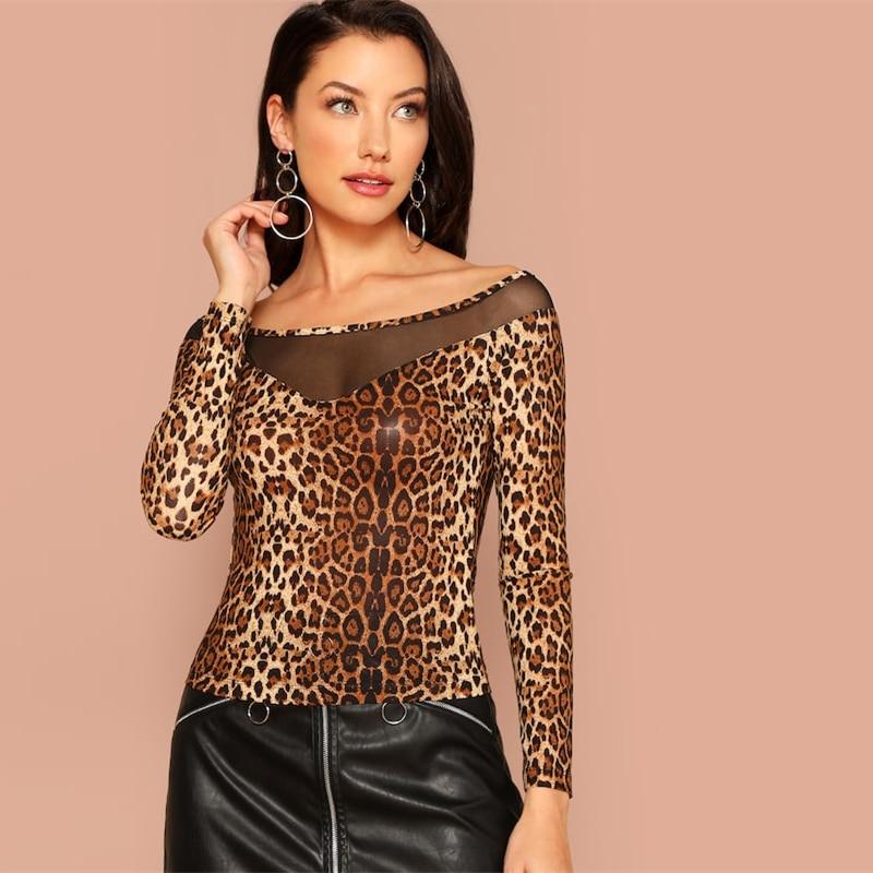 e254f195cb2e off shoulder leopard print mesh long sleeved top · Hemlock & Honey ...