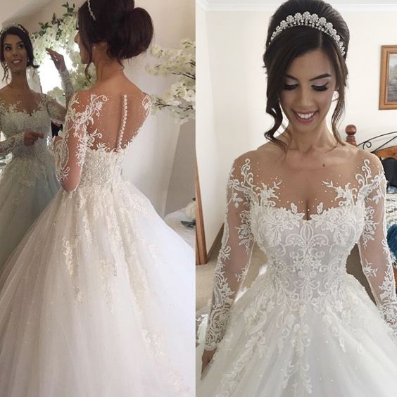 902cc2d8508ba Ball Gown Illusion Jewel Long Sleeves Wedding Dress with Beading Appliques  bridal dress on Storenvy