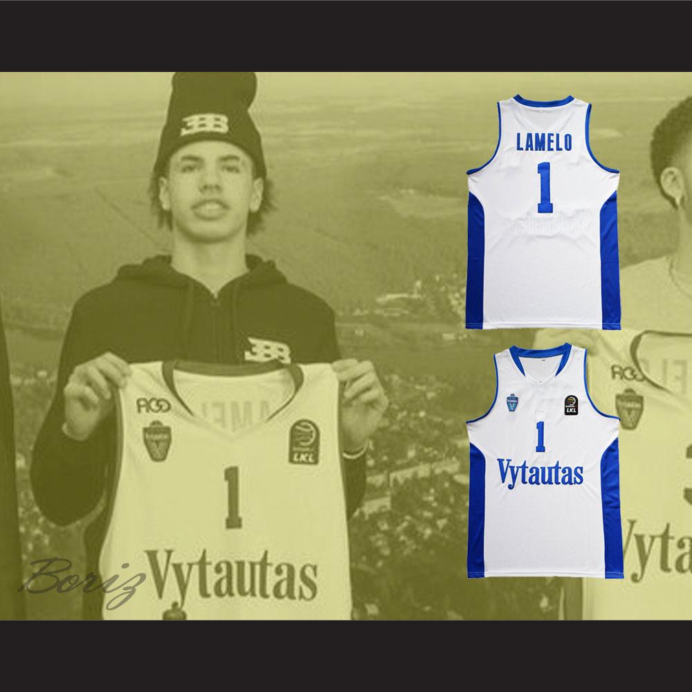 5302e1a7d868 ... Lamelo Ball 1 Lithuania Vytautas White Basketball Jersey - Thumbnail 2  ...