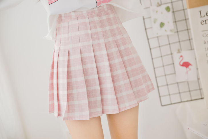 3d5c05dfb2fd Kawaii Pink & White Plaid Pleated Skirt on Storenvy