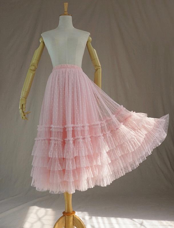 6c066050c0 Pink Dot Tulle Midi Skirt Pink Tiered Princess Tulle Tutu Skirt Plus Size