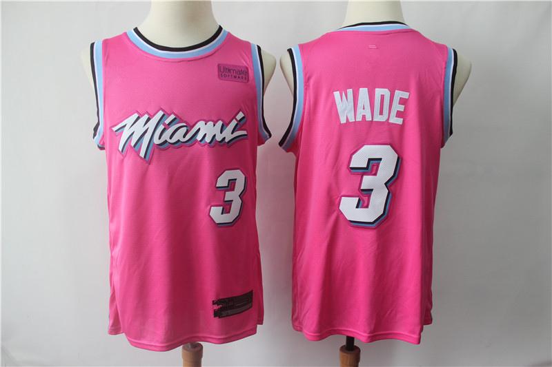 764cacd0209 Men s Miami Heat Dwyane Wade Pink 201819 Swingman Basketball Jersey – Earned  Edition Basketball Jersey