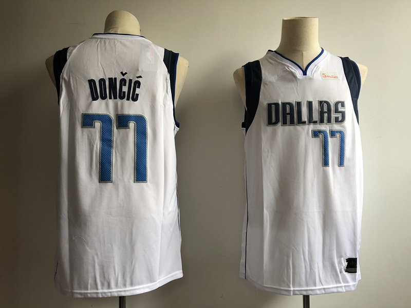 3214c212f Men s Dallas Mavericks 77  Luka Doncic White Navy Swingman Jersey Statement  Edition Basketball Jersey