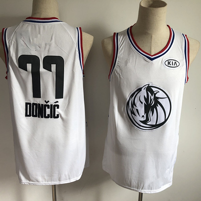 b2e59b14e Men s dallas mavericks 77 luka doncic white 2019 all-star game finished  swingman basketball jersey