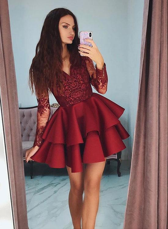 V Neck Long Sleeves Burgundy Lace Prom Dresses Long Sleeves