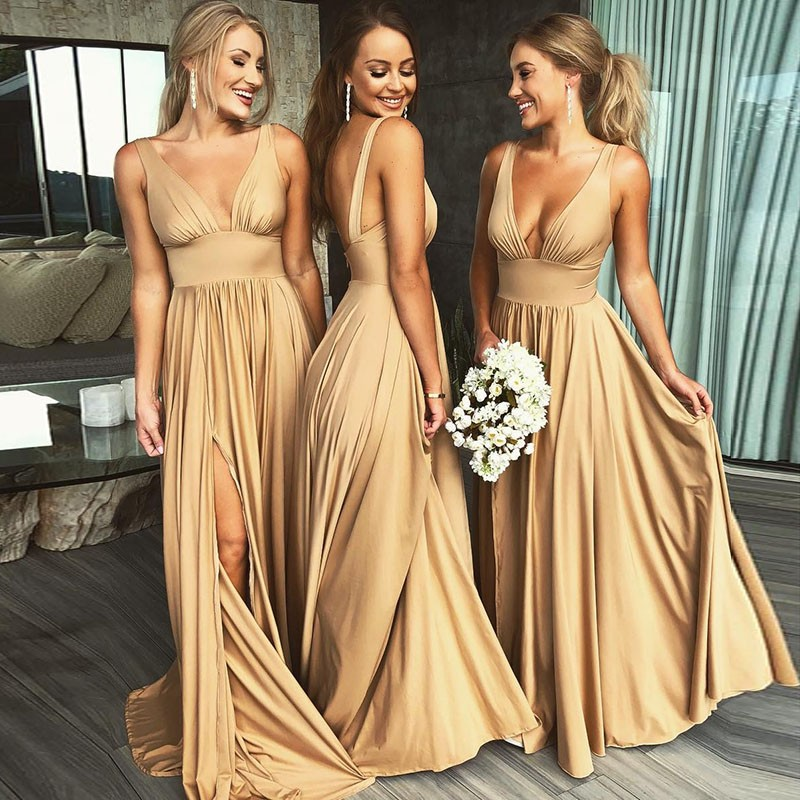 Gold Bridesmaid Dresses V Neck Bridesmaid Dresses Long Bridesmaid Dresses Bridesmaid Dresses With Side Split Pd210215 Sold By Bridal