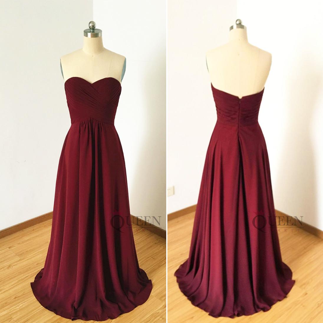 ee11ba491b29 Simple Burgundy Sweetheart Chiffon Long Prom Dress, Strapless Ruffles Bridesmaid  Dresses