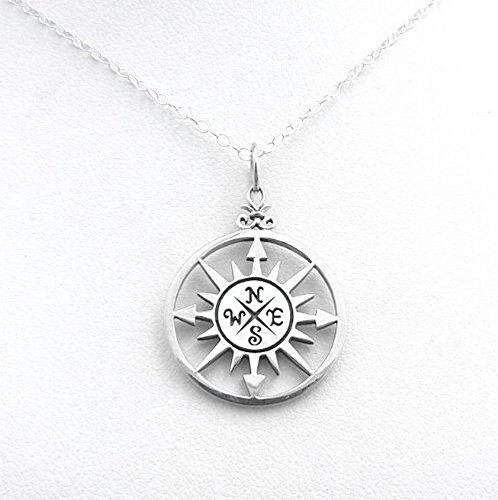 a72d27d17 Compass Rose Sterling Silver Nautical Necklace Charm Ocean ...