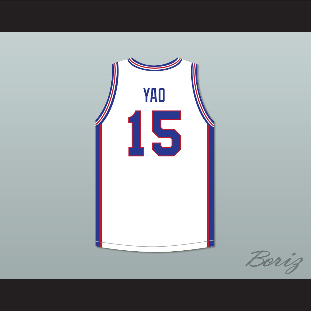 san francisco 0e603 8c9b0 Yao Ming 15 Shanghai Sharks White Basketball Jersey with CBA Patch from  acbestseller