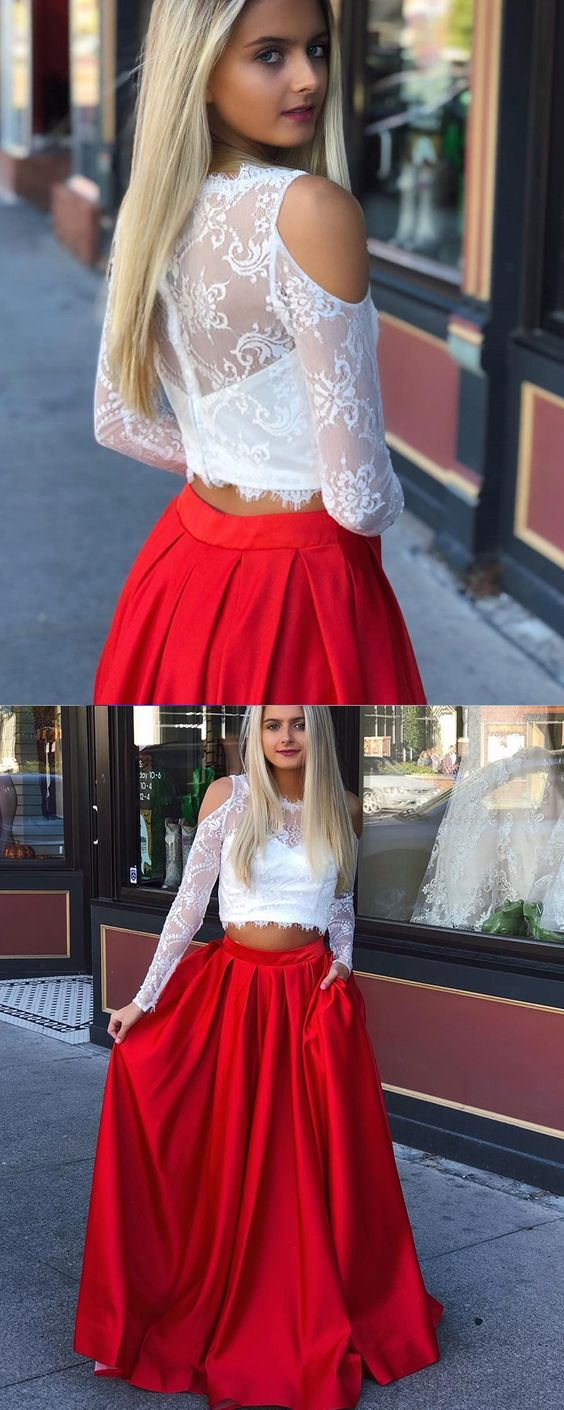281a37587 Long Sleeve Two Piece Prom Dress With Lace Bodice