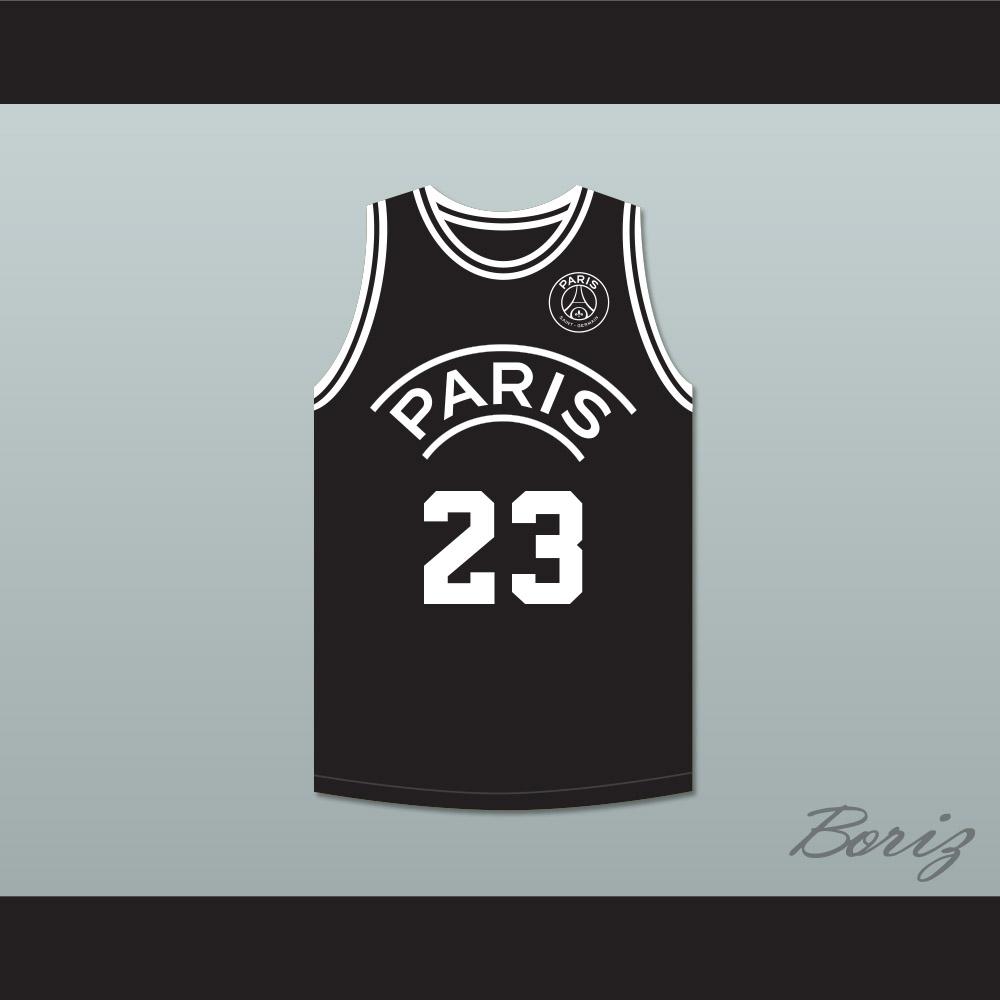 b2352f3e3fd Michael Jordan 23 Paris Saint-Germain F.C. Black Basketball Jersey with  Patch