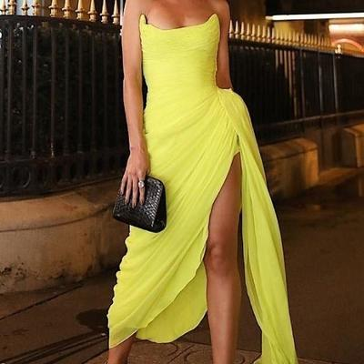 69f54488c0a Long chiffon yellow prom dresses with irregular skirt - Thumbnail 4