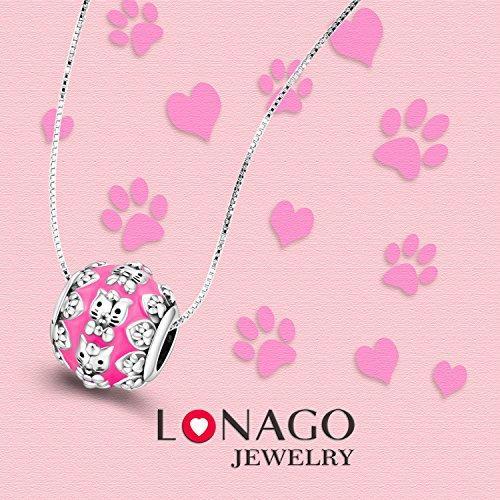 475393a69 LONAGO Dog Cat Paw Prints Charm 925 Sterling Silver Enamel Animal ...