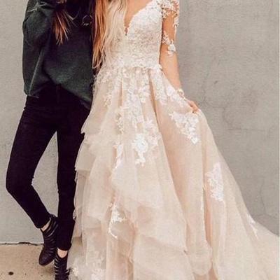 8d5a10618d7 A-line appliques champagne bridal gown with sheer long sleeves vestido de  novia