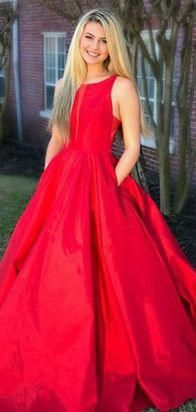 5ec17345fbb A-Line Round Neck Sleeveless Red Satin Long Prom Dresses With Pockets LP765
