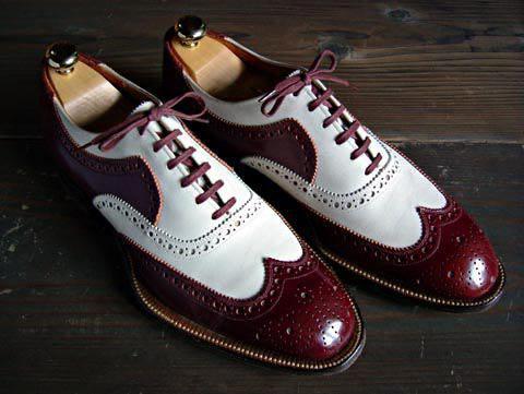 handmade men's casual shoes men's burgundy white color