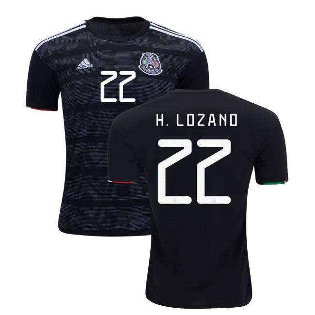 sale retailer eea43 c594a H. Lozano 22 Mexico 2019 National Team Home Soccer Jersey Men's Stadium  Football Shirt Black from JerseyHunt