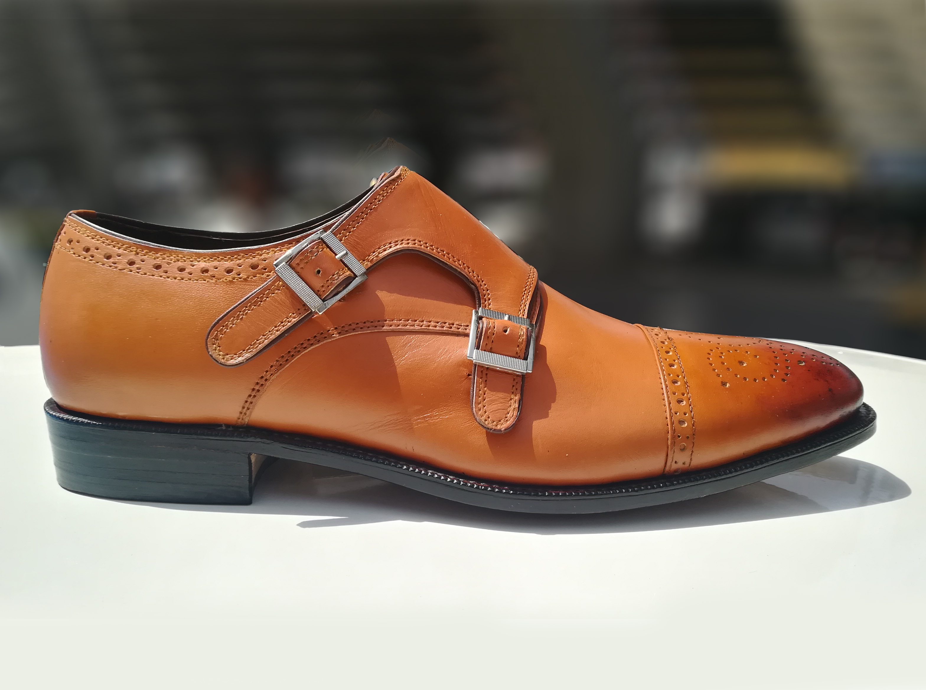 New Handmade Pure Tan Ostrich Leather Stylish Monk Strap Shoes for Men/'s